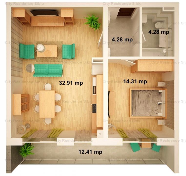 Apartament 2 camere | Arena Village | Parter inalt | Tip 2