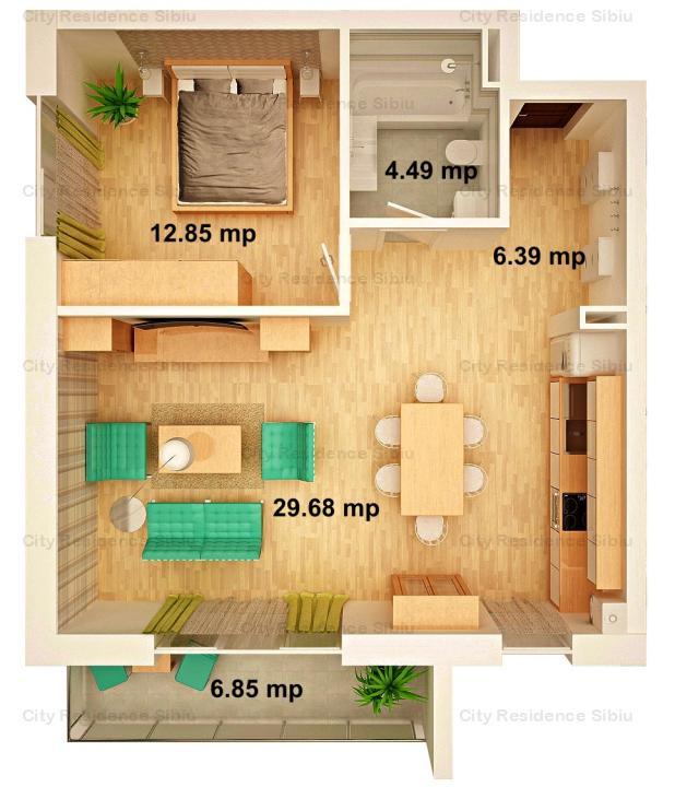 Apartament 2 camere | Arena Village | Etaj 1 | Tip 3