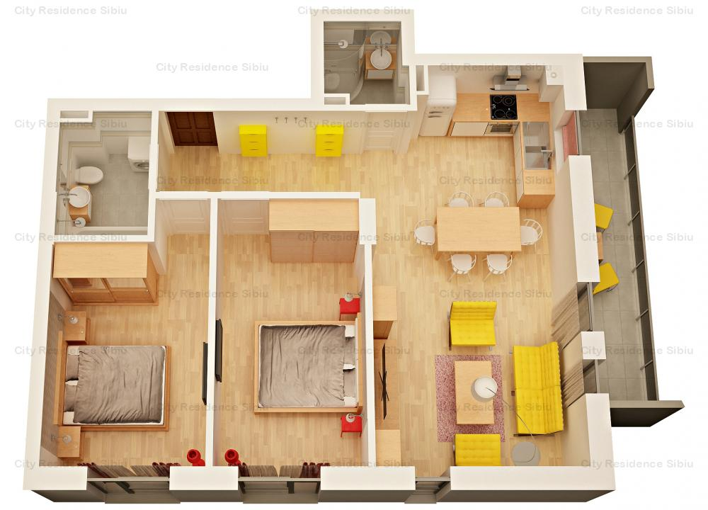 Apartament 3 camere | Tip 6 | 2 bai | Etaj 1
