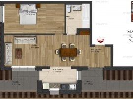 De vanzare apartament 2 camere pe Soseaua Alexandriei cu o suprafata de 71.97mp.