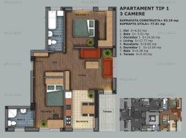 Prelungirea Ghencea, apartament 3 camere, 77mp utili, etaj 1/5, semidecomandat, bloc nou.